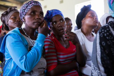 Residents at a community meeting in Xolobeni held to discuss opposition to the proposed strip mine.