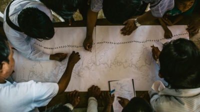 Members of the Wampis community map their territory in 2016.