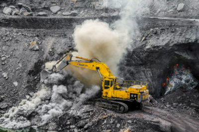 Mining in the Jharia coalfield, the largest coal reserve in India.