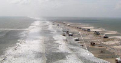 Dauphin Island, off the coast of Alabama, after Hurricane Katrina in 2005.