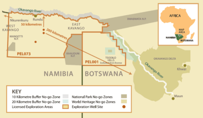 ReconAfrica's license for oil development covers a 13,250-square-mile area in Namibia and Botswana.