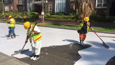 Los Angeles has coated several streets in a light gray paint to reduce road-top temperatures by as much as 10 degrees Fahrenheit.