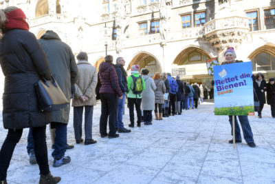 Bavarians line up outside Munich Town Hall to cast their votes for the biodiversity ballot measure in early February.