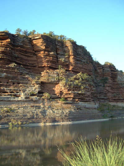Sandstone bluffs along the Llano River in Mason County, Texas.