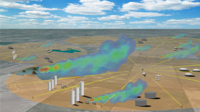 The frequency comb laser from LongPath Technologies sends beams of laser light across oil and gas fields, detecting gas clouds and measuring the size of leaks.