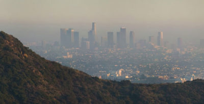 Smog settles over downtown Los Angeles.