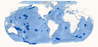 Marine Protected Areas (dark blue) cover nearly 7 percent of the world's oceans.