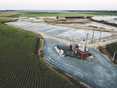 A covered lagoon manure digester on Van Warmerdam Dairy in Galt, California.