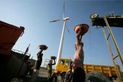 A wind turbine in the west-central Indian state of Maharashtra.