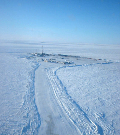 An aerial view of the Mallik drilling site near the Beaufort Sea in Canada.