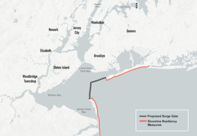 The most extensive U.S. Army Corps of Engineers proposal involves building a five-mile-long barrier across New York Harbor and shoreline fortifications.