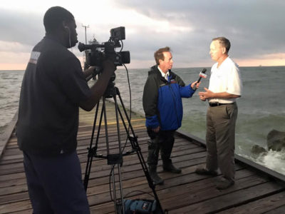 Mayor Jeff Collier talks with local news reporters ahead of Hurricane Nate in 2017.