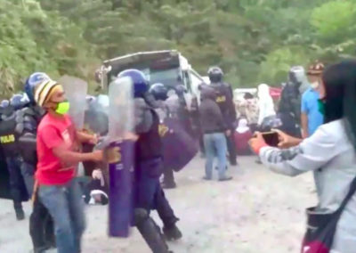 Violent dispersal of the peaceful encampments against Oceana Gold's Didipio mine.