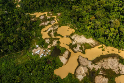 An illegal mine in the Renca National Reserve in Brazil in 2017, an area that incorporates two Indigenous lands and is rich in gold and other minerals.