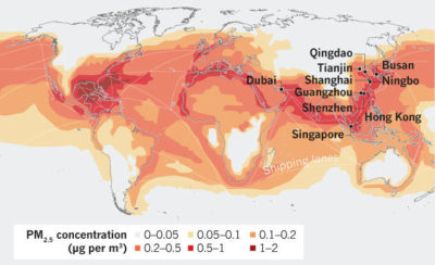 Concentrations of air pollution along global shipping routes. Until recently, most of the world's 10 busiest ports — nine of which are in Asia — had no limits on emissions.