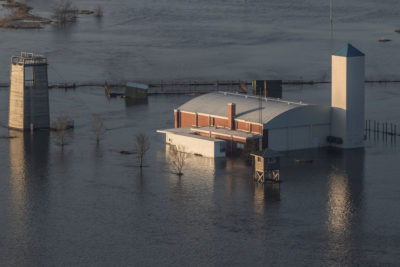 A flooded Army National Guard facility in Ashland, Nebraska on March 17, 2019.