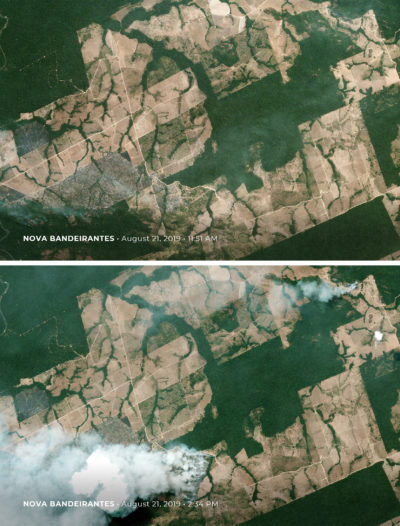 Photos taken just hours apart, before and after new fires broke out on August 21 in Nova Bandeirantes, Mato Grosso state, Brazil.