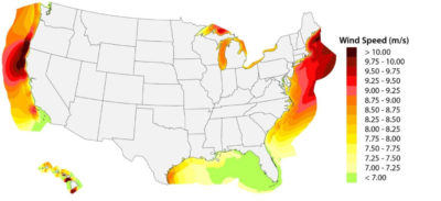 U.S. wind energy potential based on average wind speeds at 300 feet, the height of most turbines. The northeastern U.S. and Northern California coasts (in red) have the greatest potential.