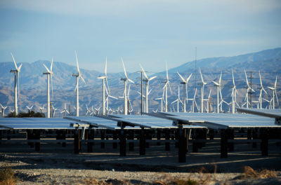 A wind and solar project in Palm Springs, California.