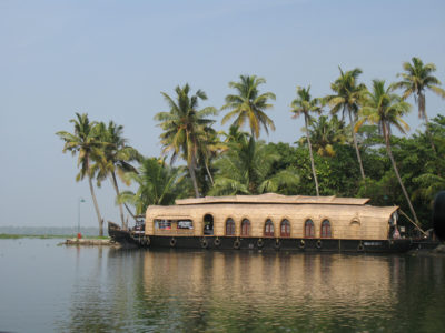 A luxury houseboat moored along Lake Vembanad near the tourist town of Kumarakom in Kerala.