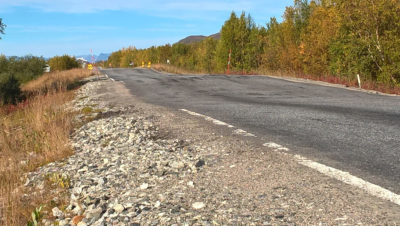 A road in Finnish Lapland becomes wavy as parts of it subside into thawing permafrost.