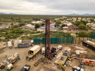 An aquifer storage and recovery well being drilled in the Desert Ridge neighborhood of North Phoenix. When complete, the well, which will support 10,000 homes, will be used to either store water 1,540 feet underground or pull it back up when surface supplies run low.