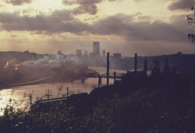 Smoke from steel plants creates a haze over Pittsburgh in May 1973. Western Pennsylvania just recently got its air pollution to safe levels.