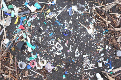 Pieces of plastic found washed up on the beach on St. Helena island in the South Atlantic Ocean.