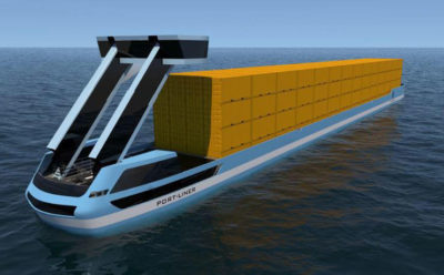 An all-electric, driverless canal barge by the Dutch company Port-Liner is expected to start navigating between Amsterdam, Antwerp, and Rotterdam in the summer of 2018.