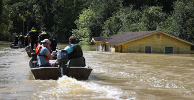 A house sits submerged in Port Vincent, Louisiana on August 16.