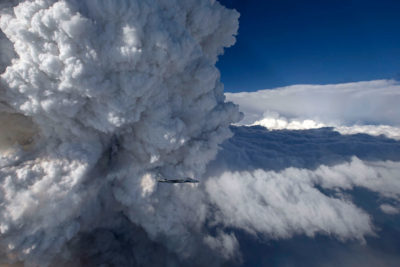 A pyrocumulus cloud developing above a major wildfire in southern Oregon in July 2014.