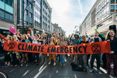 Climate activists block traffic in London's Oxford Circus on April 19.