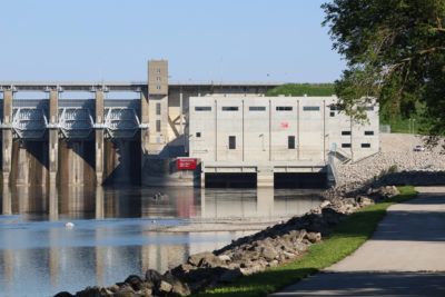 The Red Rock Hydroelectric Project on the Des Moines River in Iowa..