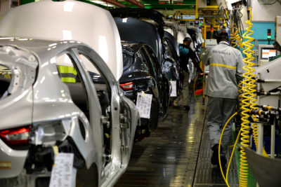An assembly line for the Zoe electric car at French carmaker Renault's plant in Flins-sur-Seine.