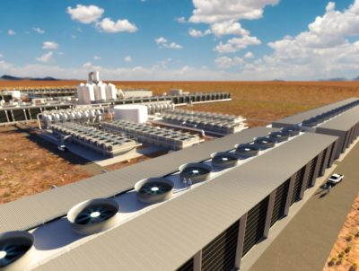A rendering of Carbon Engineering's direct air capture plant planned in West Texas, which would be the largest such facility in the world.