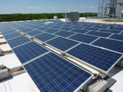 Rooftop solar panels in Woburn, Mass.