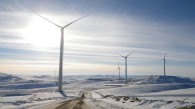Mongolia aims to get 20-25 percent of its electricity from renewable sources by 2020, such as from the 50-megawatt Salkhit Wind Farm, pictured here, completed in 2013.