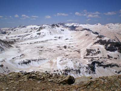 Dust covers the snow in the San Juan Mountains in Colorado during an extreme dust year in 2009.
