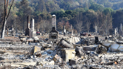 Homes in Santa Rosa, California destroyed by the Tubbs Fire in 2017.