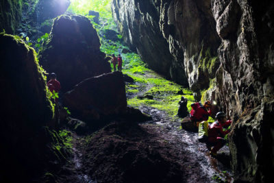 In a survey of Santander in northeastern Colombia, scientists explore one of the mountainous region's many caves.
