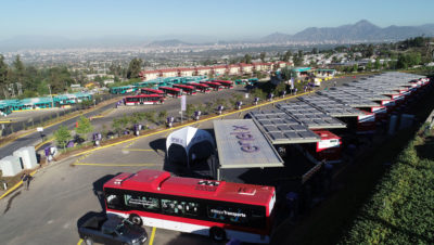 An electric bus charging terminal in Santiago, Chile, which draws power primarily from solar panels.