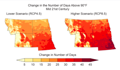 Projected changes are shown for the annual number of very hot days and heavy precipitation events in the mid-21st century.