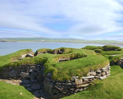 Remains of the Stone Age settlement of Skara Brae in the Orkney Islands, threatened by sea level rise.
