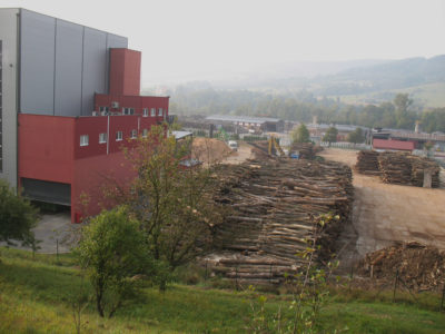 Logs await processing at a wood pellet plant in Bardejov, Slovakia. An estimated 10 million cubic meters of wood is logged each year from the country's forests.