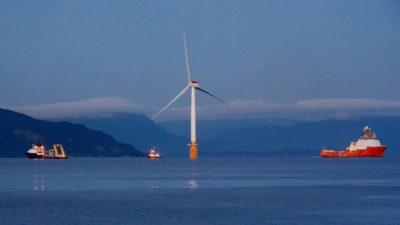 A 6MW floating turbine being towed into place in northern Scotland.
