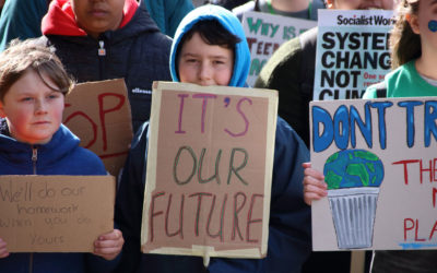 Students in Nottingham, England skip school to protest climate inaction on March 15.