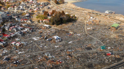 An aerial view of damage to Sukuiso, Japan, one week after a tsunami devastated the area in 2011.