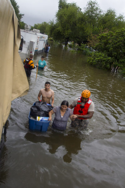 Texas National Guard Soldiers rescue residents stranded in Tropical Storm Harvey's floodwaters.