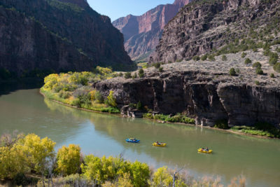 Kayakers on the Green River, a main stem of the Colorado, at the Gates of Lodore in northwest Colorado. Low water levels have forced some bans on recreational uses.