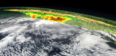 "Using a combination of cloud data, such as this satellite observation of a tropical storm over South America, and ""machine learning"" could help to fine-tune climate models."